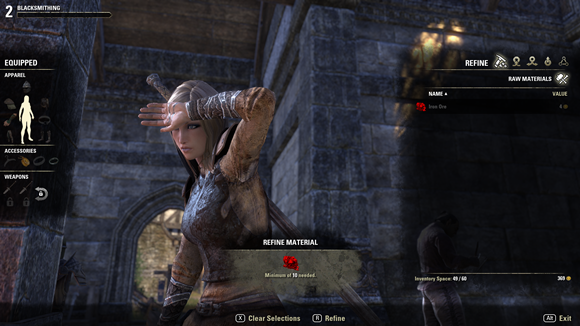 Teso my character making iron