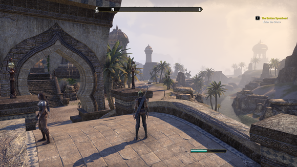 Teso arrive in the desert town