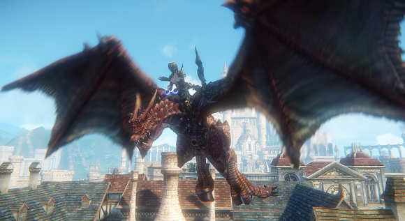 Female character riding dragon