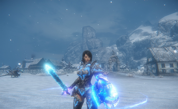 Icarus online character standing on the snowy field