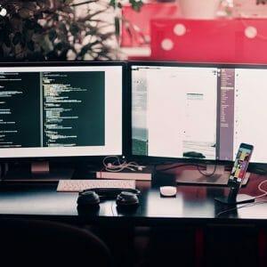 PC monitor emitting blue light