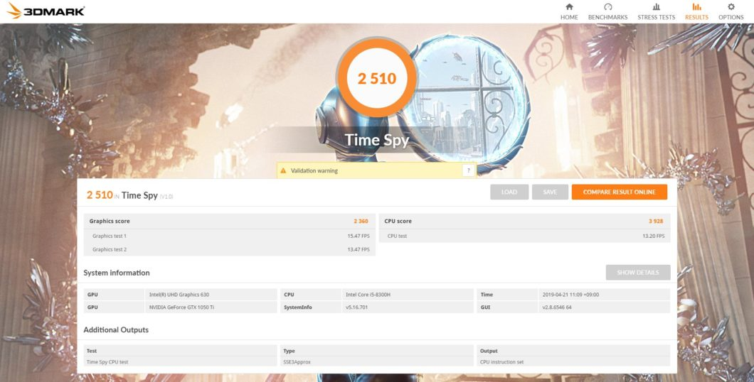 GALLERIA GCF1050TGF-E 3DMARK score